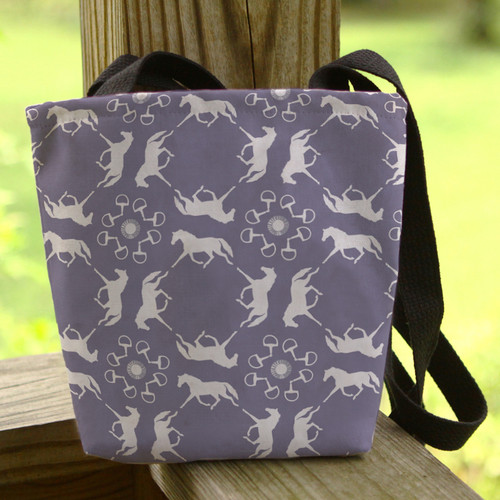 Faded blue colored trotting horses patterned tote bag
