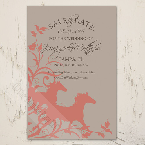 Beige and Coral Pink Wild Horses Equestrian Save The Dates