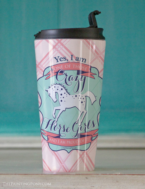 Horse Crazy Girl Equestrian Travel Tumbler 15oz