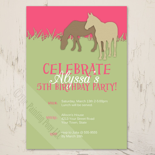Girl's fifth birthday party invite with a pony theme.