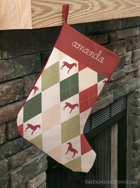 Harlequin Pattern Horse Christmas Stocking
