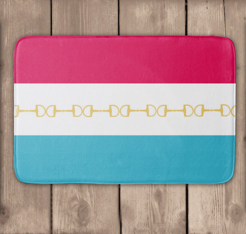 Modern Striped equestrian bath mat