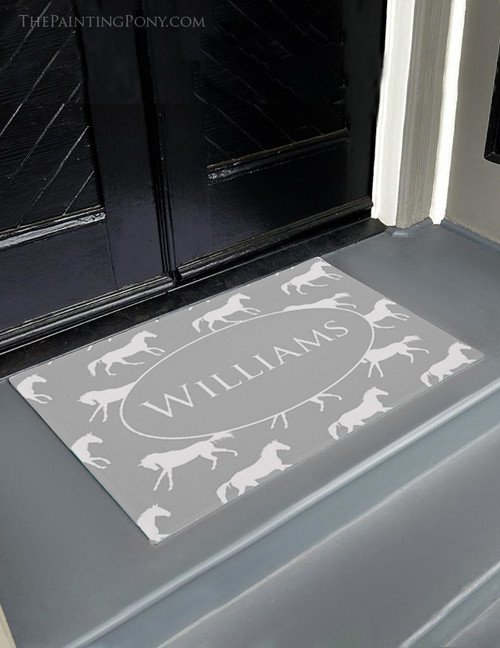 Gray Galloping Horses Equestrian Door Mat
