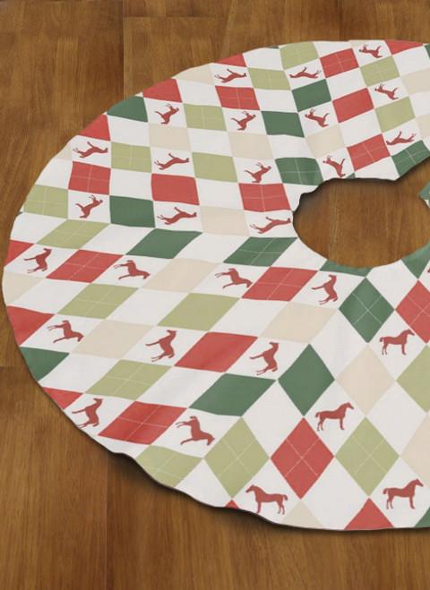 Christmas Harlequin Horse Tree Skirt