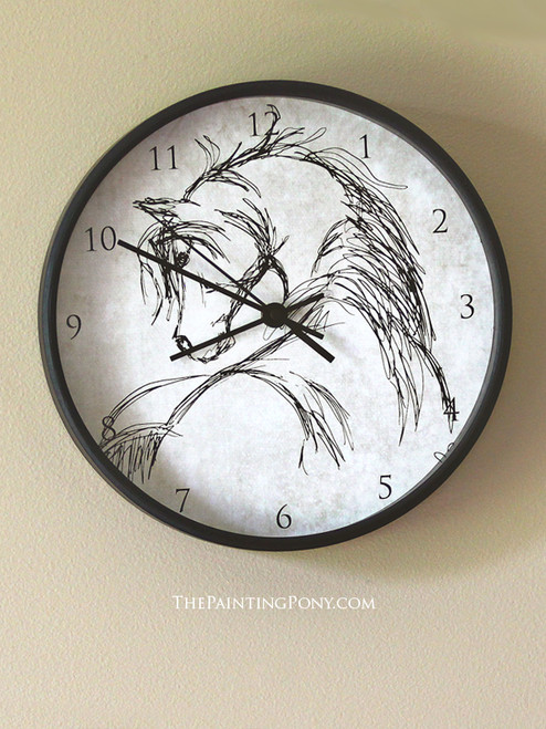 Rustic Horse head Sketch Wall Clock