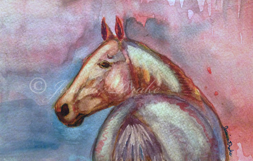 """Twilight Akhal-Teke"" Horse Head Watercolor"