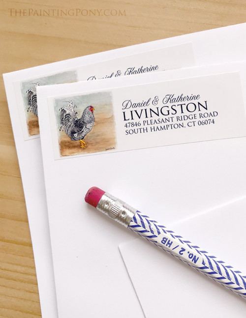 Rooster Art Return Address Labels