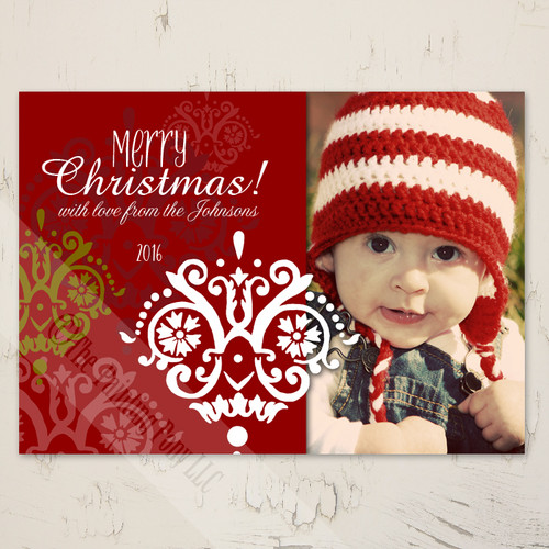 Personalized Damask Patterned Flat Photo Template Christmas Card