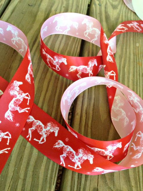 Red and White Snowflake horse Christmas Ribbon