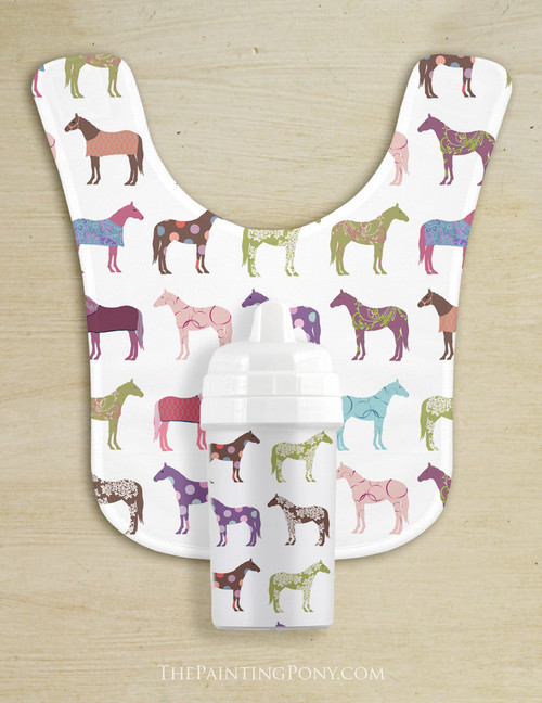 Fun Horse Pattern Baby Bib & Sippy Cup Set