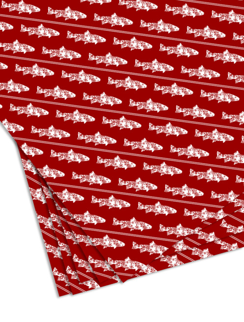 Snow Flake Trout Christmas Gift Wrapping Paper