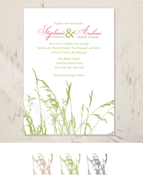 Sea Grass Beach Wedding Invitation (10 pk)