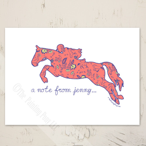 cute hunter jumper horse personalized blank note cards