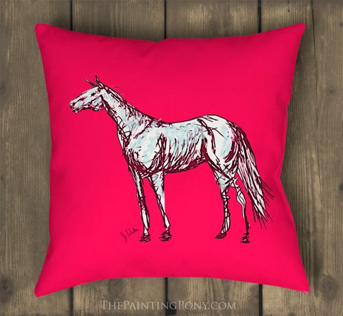 Pink Abstract Horse Art Pillow