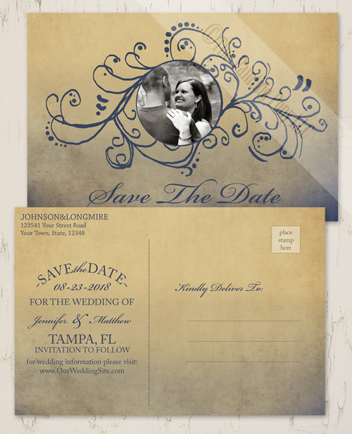 Bohemian Wedding Photo Save The Date Postcards