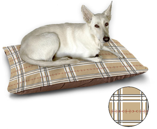 Equestrian Plaid Pattern Dog Bed