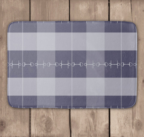 Blue Plaid Horse Bits Bath Mat
