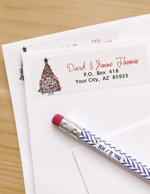 Christmas Tree Sketch Return Address Labels
