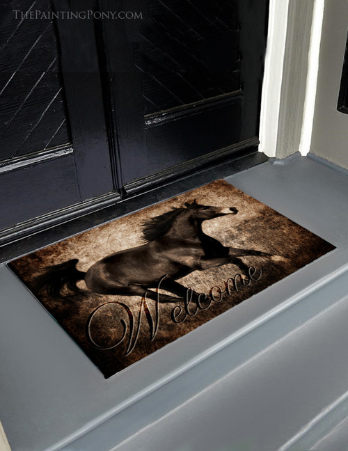 Rustic Galloping Horse Welcome Door Mat