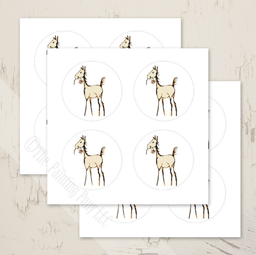 Whimsical Foal with Flower Baby Shower Stickers