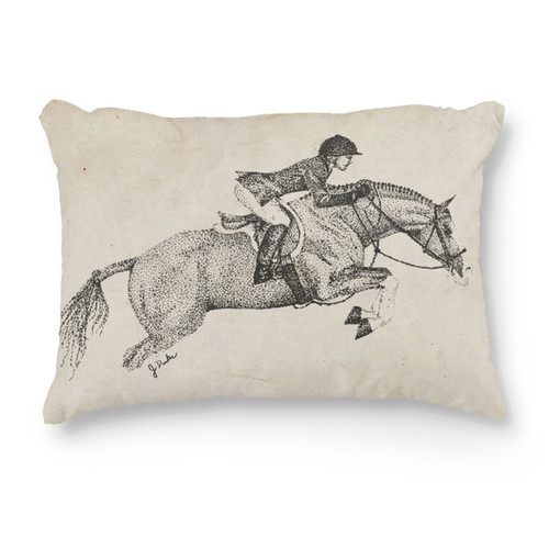 Hunter pony equestrian themed throw pillow
