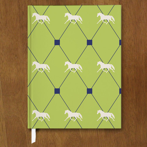 Navy blue and lime green harlequin horse pattern equestrian journal