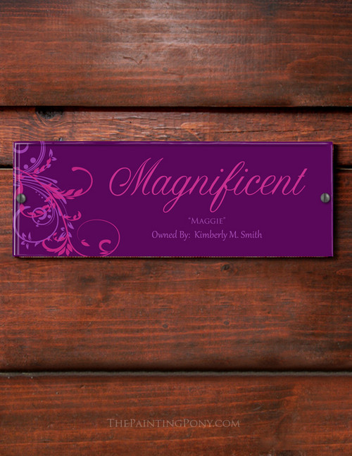 Double Floral Swirls Personalized Acrylic Horse Stall Name Plate