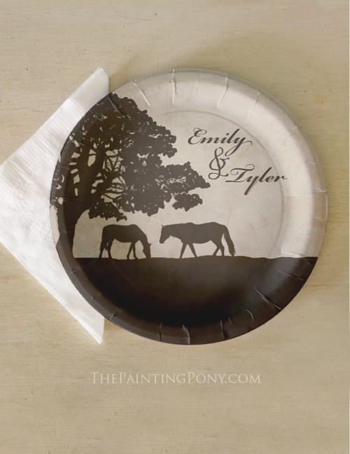 Vintage Horse Farm Wedding Party Plates (8 pk)