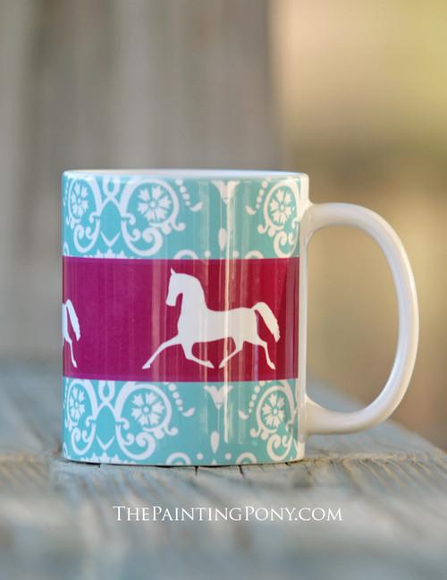 Elegant Damask Pattern With Trotting Horse Equestrian