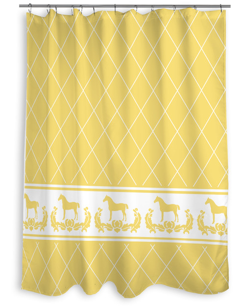 Yellow Damask Horse Equestrian Themed Shower Curtain The