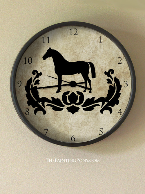 Classic Damask Horse Equestrian Wall Clock The Painting Pony