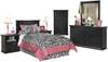 Lucia Black Youth Headboard Bedroom Set