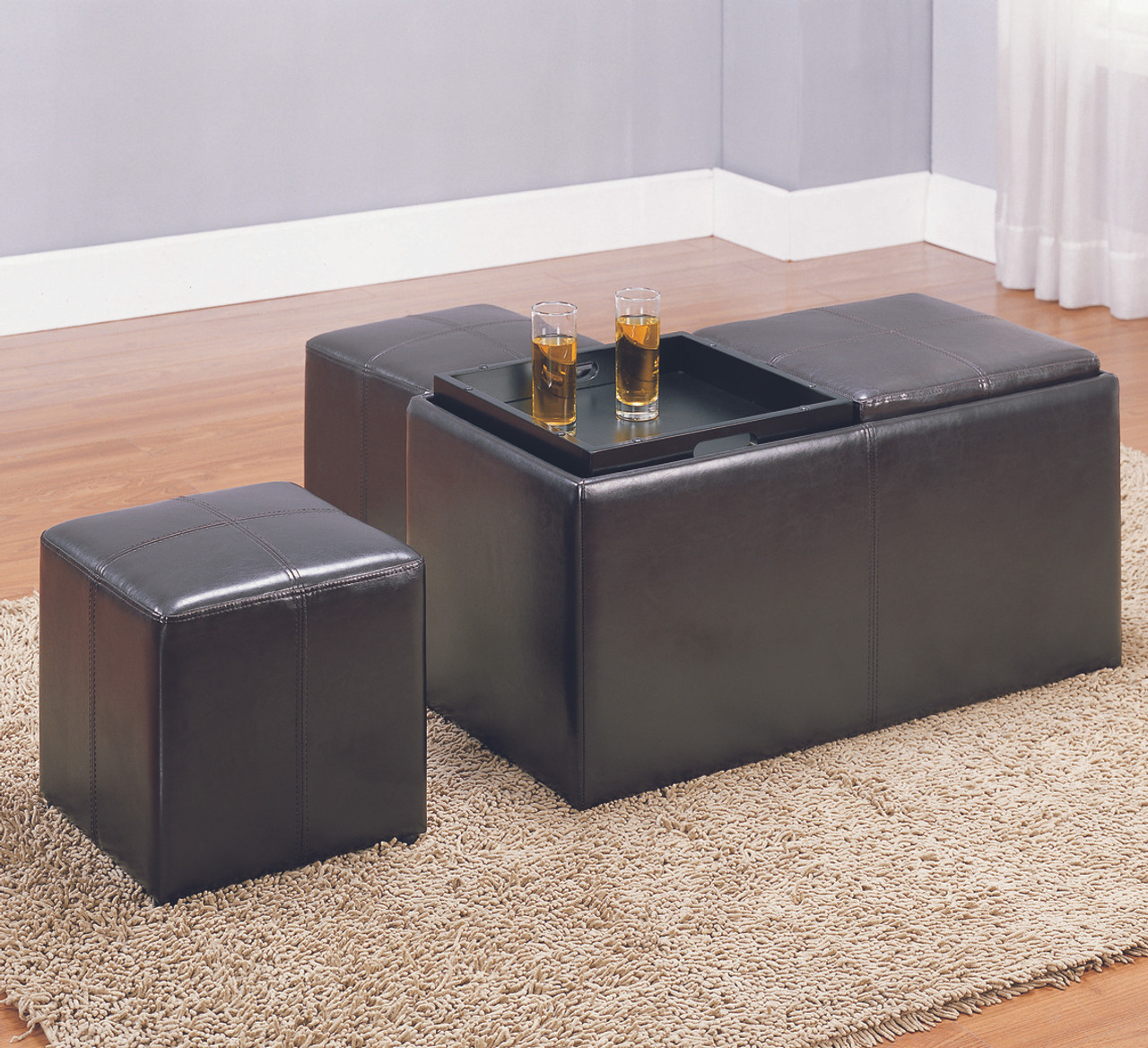 ... Brooke Dark Brown Leather Two Seat Storage Ottoman