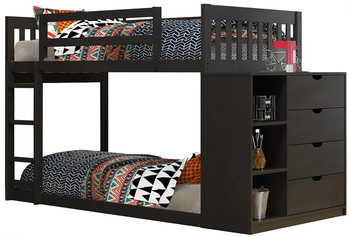 Giani Black Twin/Twin Bunkbed With Chest
