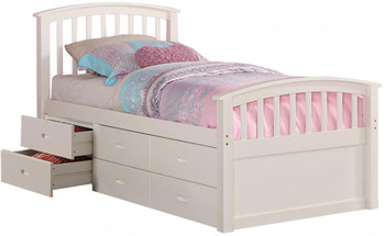 Marlowe White Twin 6-Drawer Captains Bed