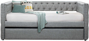 Jennifer Gray Tufted Fabric Daybed With Trundle