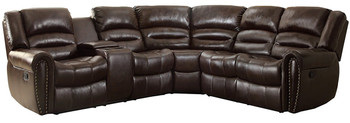 Cameren Dark Brown Bonded Reclining Sectional Left Console