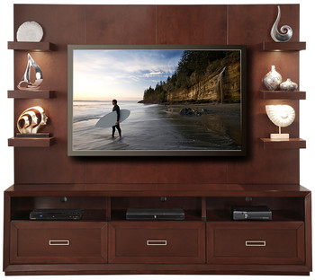 Bali Brown Lighted 2-PC Wall Unit