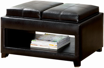 Aaden Brown Ottoman with Tray Tops