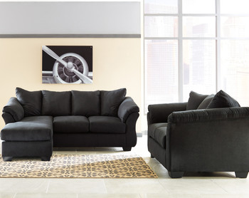 Edeline Black Plush Sofa Chaise & Loveseat