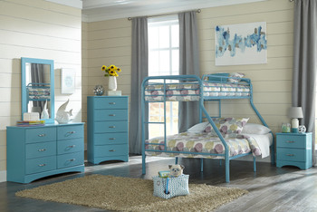 Lily Turquoise 5 Piece Twin over Full Bunkbed Set