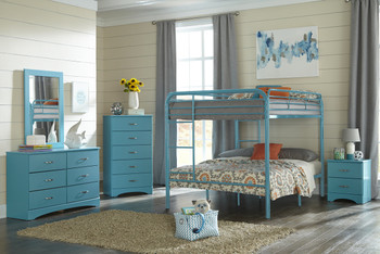 Lily Turquoise 5 Piece Full Bunkbed Set