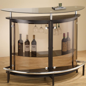 Mies Black Glass Top Bar Unit