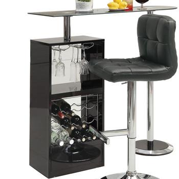 Baxter Black Glass Top Bar Unit