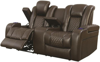 Doyle Brown Powered Reclining Loveseat