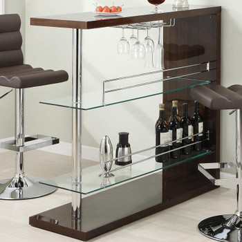 Skyline Brown Bar Table with Storage