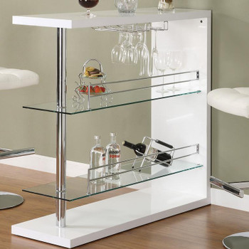 Skyline White Bar Table with Storage