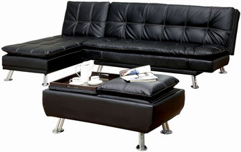 Azaria Black Sofa Bed with Chaise