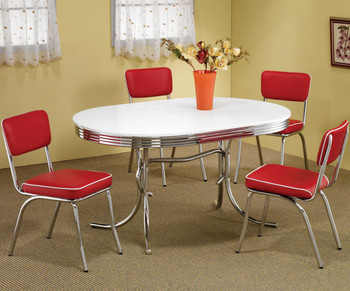 Bel Air Red 5-PC Oval Dining Set