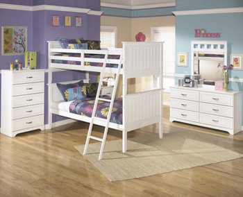 Elli White Bunk Bed Bedroom Set